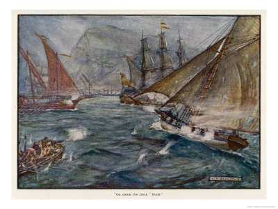 """Captain Fagg in the """"Buck"""" Out-Sails the Spanish Blockade Giclee Print by J.r. Skelton"""
