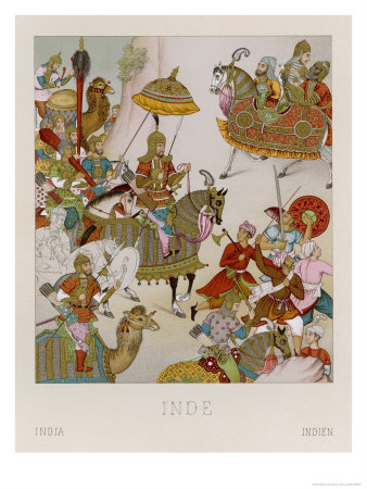 Babur Mughal Emperor of India 1526-1530 Depicted Invading Persia ...
