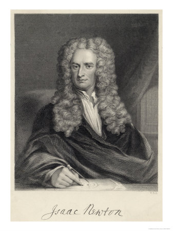 Sir Isaac Newton Mathematician Physicist Occultist Premium Giclee Print by William Holl the Younger