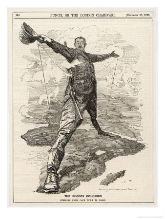 Cecil Rhodes Statesman Financier Imperialist. Caricatured as a Colossus Bestriding Africa Premium Giclee Print by Linley Sambourne