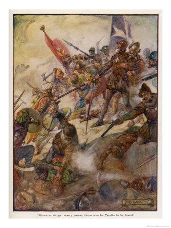 Jean de la Valette Defends the Island Against the Turks Premium Giclee Print by J.r. Skelton