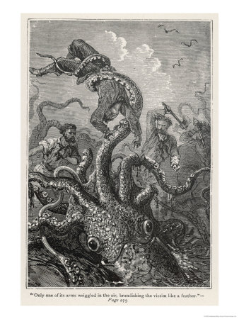 20,000 Leagues Under the Sea: The Squid Claims a Victim Giclee Print by  Hildebrand