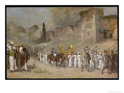 The Israelites Led by Joshua and Helped by God Destroy Jericho Premium Giclee Print by Robert Leinweber