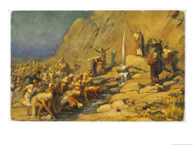 POURQUI TENTEZ-VOUS L'ÉTERNEL? (Exode 17: 7) leinweber-robert-during-the-exodus-moses-strikes-a-rock-and-obtains-a-supply-of-water-for-the-israelites