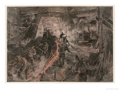 Ironworks at Birmingham, Tapping a Furnace and Running the Molten Metal into Pigs Premium Giclee Print by Henri Lanos