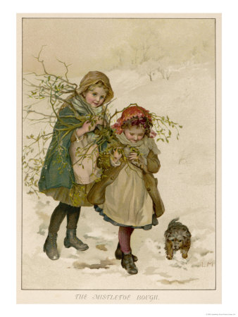 Two Girls and Their Dog Gather Mistletoe in the Snow Premium Giclee Print by  Lizzie