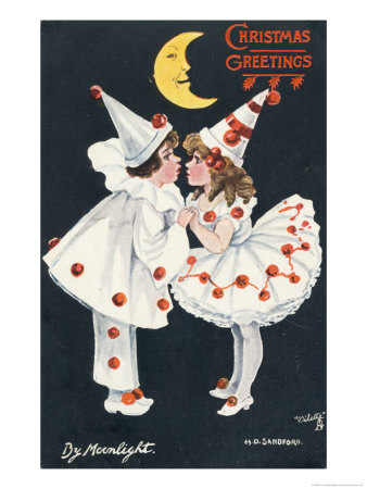 By Moonlight, Boy and Girl in Pierrot Costume Look at Each Other and Like What They See Giclee Print