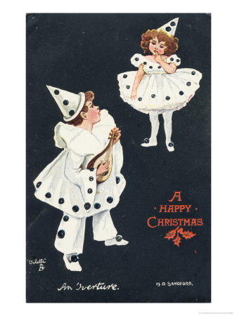 An Overture, Boy and Girl in Pierrot Costume Take a Fancy to One Another Giclee Print