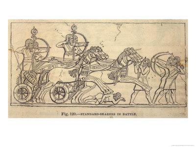 Assyrian Battle Scene with Standard Bearers Premium Giclee Print by Layard's Nineveh