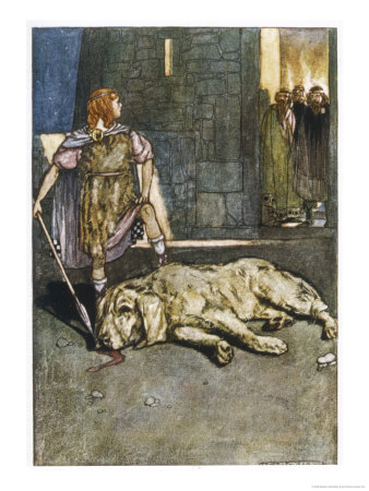 Cuchulain (Cu Chulainn) Slays the Hound of Culain Gicléetryck av Stephen Reid