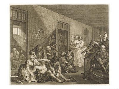 Scene in Bedlam Asylum Premium Giclee Print by William Hogarth