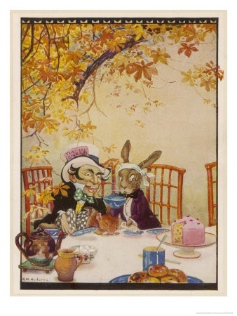 Alice at the Mad Hatter's Tea Party Premium Giclee Print by Gywnedd Hudson