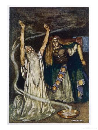 The Druid Warns Maeve About Cuchulain Exklusivt gicléetryck av Stephen Reid