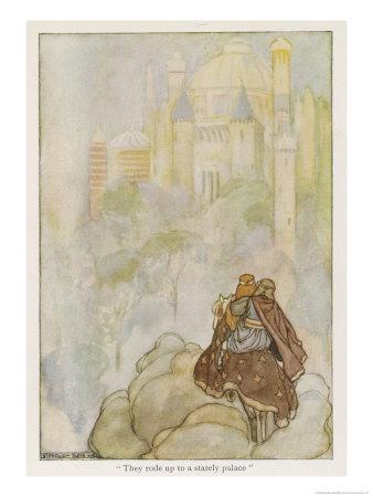 Niam of the Golden Hair Takes Oisin to Her Father's Land, The Land Oversea Gicléetryck av Stephen Reid