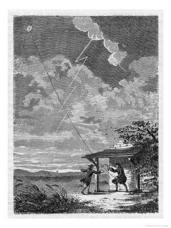 Benjamin Franklin's Conducting His Lightning Experiments in Philadelphia Premium Giclee Print by  Guiguet