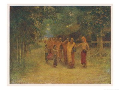 Group of Monks Pass Through a Burmese Village Begging for Food Giclee Print