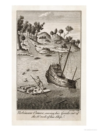 Robinson Crusoe Salvages Goods from the Wrecked Ship Giclee Print by J. Lodge