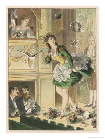 Success! Bouquets of Flowers are Thrown on Stage and a Dove is Let Loose for a Popular Actress Premium Giclee Print by D. Eusebio Planas