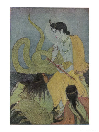 Krishna Defeats the 5 Headed Serpent Kaliya Giclee Print by Khitindra Nath Mazumdar