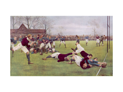Rugby Try Scored 1897 Premium Giclee Print by Ernest Prater