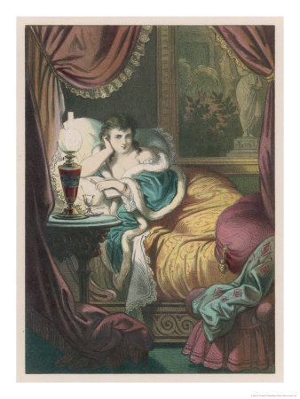 Woman in Bed Alone with a Book Giclee Print by D. Eusebio Planas