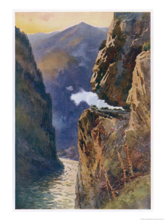 Passenger Train of the Canadian Pacific Railway Passes Through the Grand Canyon of the Fraser River Giclee Print by E.p. Kinsella