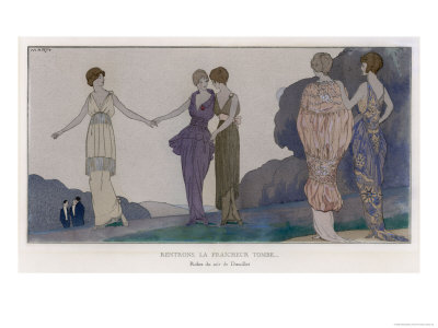 5 Elegant Evening Dresses by Doeuillet Seen by Moonlight, The Newly Fashionable Tunic or Overskirt Giclee Print by Andre Marty