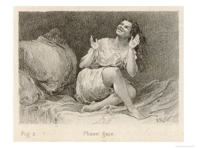 Mental Patient at la Salpetriere Sitting on Her Bed in Phase Gaie Premium Giclee Print by  Richer