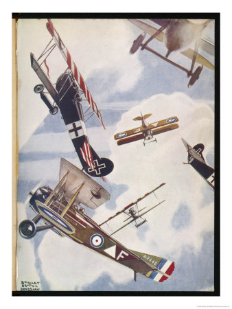 The Skies Over Europe are Filled with Warring Aircraft Premium Giclee Print by Stanley Orton