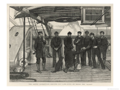 "Serving Lime Juice to Prevent Scurvy During ""Alert"" Artic Expedition Giclee Print by J. Nash"