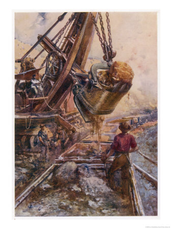 Using a Steam Shovel to Clear Away Heavy Debris While Constructing a Railway Giclee Print by E.p. Kinsella