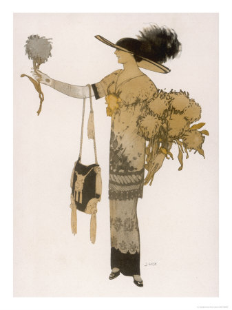 Silhouette of 1911: High Waisted Tunic Dress with Hobble Skirt and a V-Necked Corsage Premium Giclee Print by J. Gose