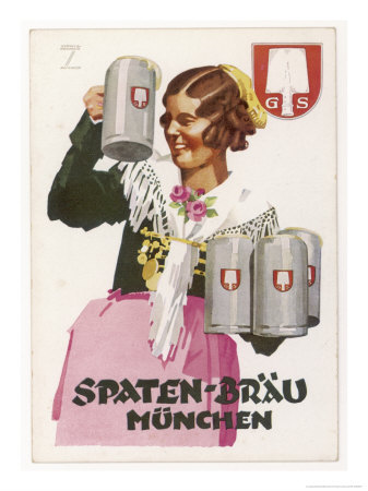 Waitress Brings Four Seidels of Frothy Spaten-Brau Gicleetryck
