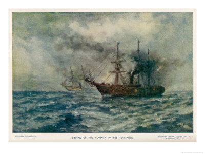 Engagement Between the Federal Steam-Sloop Kearsarge and the Confederate War-Steamer Alabama Giclee Print