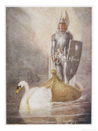 Lohengrin Arrives in a Boat Drawn by Elsa's Brother Godfrey Premium Giclee Print by Norman Price
