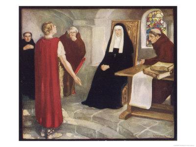 Saint Hilda of Whitby Anglo-Saxon Abbess Receiving a Visit from Caedmon Gicléetryck av Stephen Reid