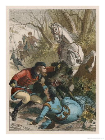 Woman is Rescued from a Wild Boar During a Hunting Expedition Premium Giclee Print by D. Eusebio Planas