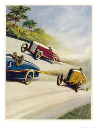Racing Cars of 1926: Oddly One Car is Carrying Two People the Others Only One Premium Giclee Print by Norman Reeve