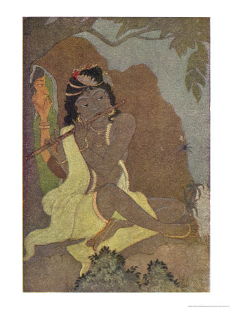 Krishna, The 8th Avatar of Vishnu with Radha, One of the Gopis Premium Giclee Print by Khitindra Nath Mazumdar