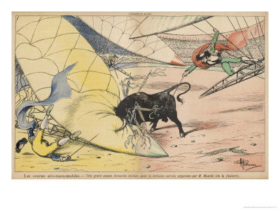 The Use of Flying Machines Could Introduce a New Excitement to the Bullfight Arena reproduction procédé giclée