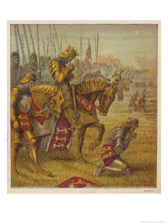 Henry V and His Troops Pray for Victory Over the French Before the Battle of Agincourt Premium Giclee Print by Joseph Kronheim