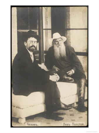 Anton Chekhov Russian Writer with Leo Tolstoy Premium Giclee Print