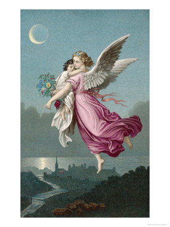 An Angel Flies Through the Night Sky Carrying a Child Giclee Print