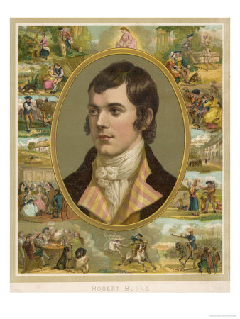 Robert Burns Scottish National Poet Portrait Surrounded by His Creations Premium Giclee Print