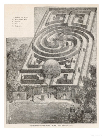 The Simple But Elegant Hedge Labyrinth in the Tivoli Gardens Copenhagen Denmark reproduction procédé giclée