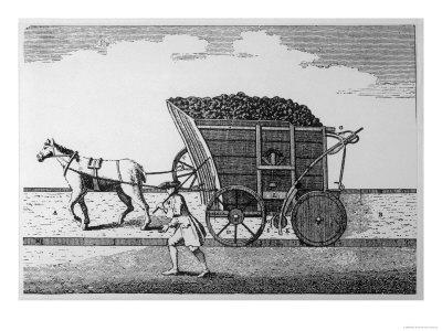 Rail:Pre-Steam Horse-Drawn Coal Wagon on Rails Giclee Print
