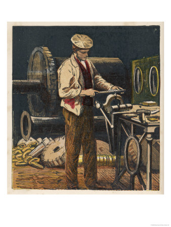 Victorian Metalworker Machining a Part in His Workshop Giclee Print