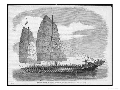 Chinese Pirate-Boat at Canton Carrying a Small Army of Ruffians Giclee Print