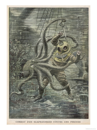 Huge Octopus Nearly Succeeds in Overcoming American Diver Martin Lund But is Eventually Beaten Off Premium Giclee Print