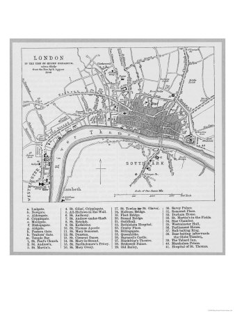Map of London at the Time of Queen Elizabeth I Premium Giclee Print